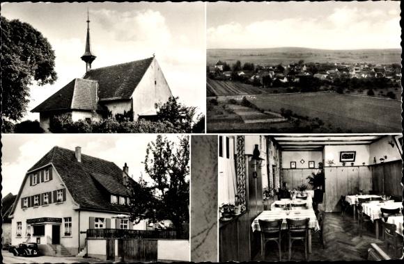 Ak Munzingen Freiburg im Breisgau Baden Württemberg, Gasthof zum Engel, Kirche, Total 0