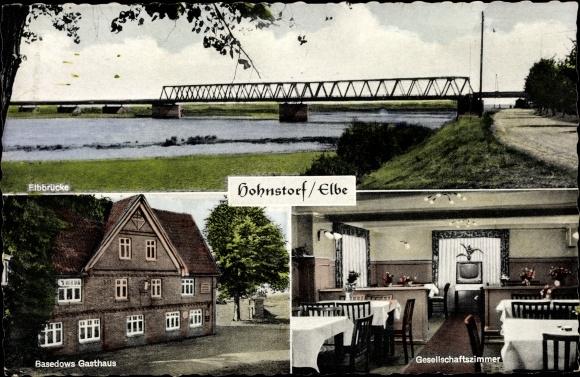 Ak Hohnstorf Elbe, Elbbrücke, Basedows Gasthaus 0