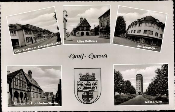 Ak Groß Gerau in Hessen, Rathaus, Wasserturm, Sandböhl, Wappen 0