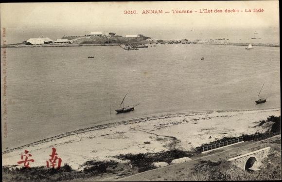 Ak Tourane Annam Vietnam, L'Ilot des docks, la rade 0