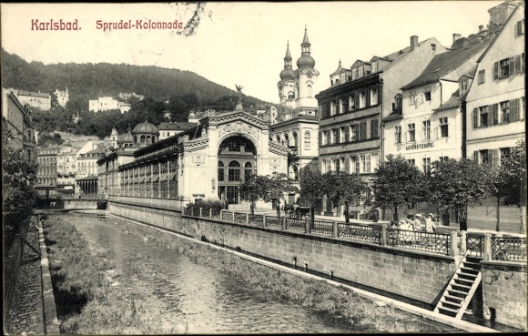 Ak Karlovy Vary Karlsbad Stadt, Sprudelkolonnade 0