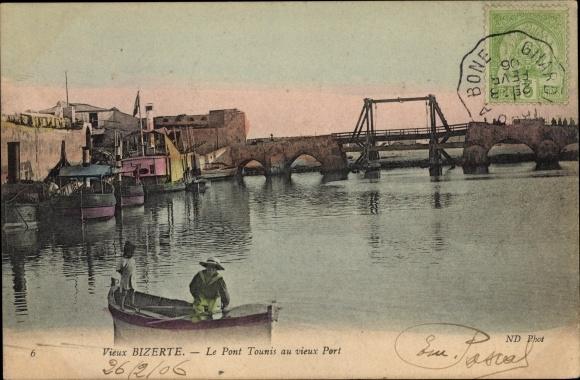 Ak Bizerte Tunesien, Le Pont Tounis au vieux Port 0
