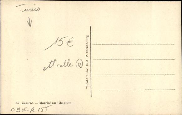 Ak Bizerte Tunesien, Marché au Charbon, Kamele 1