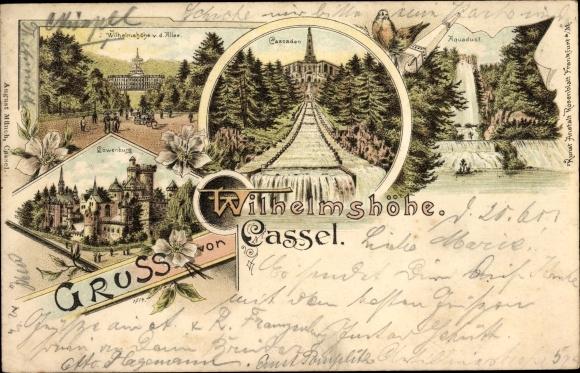 Litho Bad Wilhelmshöhe Kassel, Schloss, Kaskaden, Aquädukt, Löwenburg 0