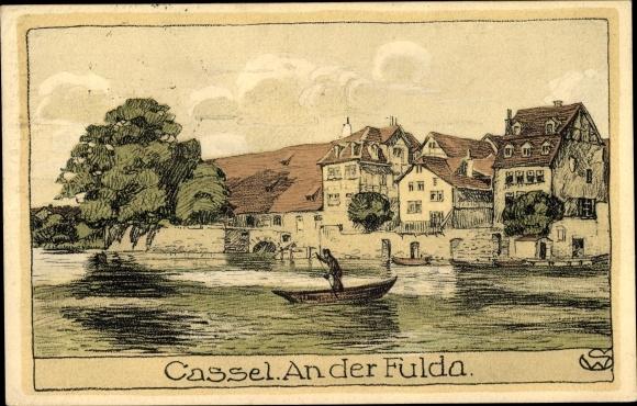 Künstler Ak Kassel in Hessen, Fuldapartie 0