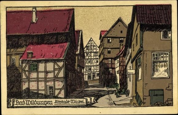 Steindruck Ak Bad Wildungen in Nordhessen, Altstadtwinkel 0