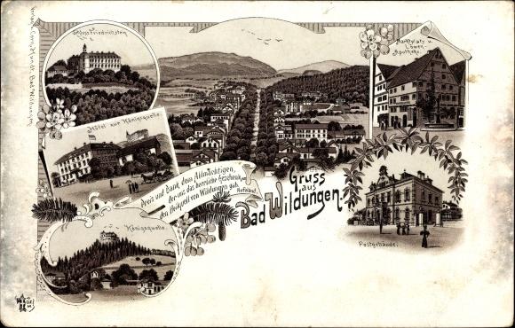 Litho Bad Wildungen in Nordhessen, Schloss Friedrichstein, Hotel zur Königsquelle 0