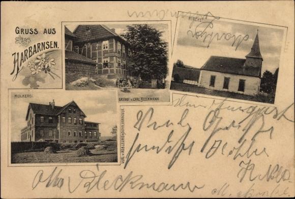 Ak Harbarnsen in Niedersachsen, Kirche, Gasthof, Molkerei, Kirche 0