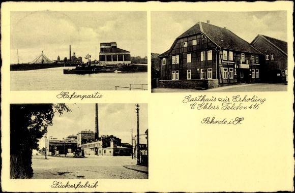 Ak Sehnde Niedersachsen, Hafen, Zuckerfabrik, Gasthaus zur Erholung 0