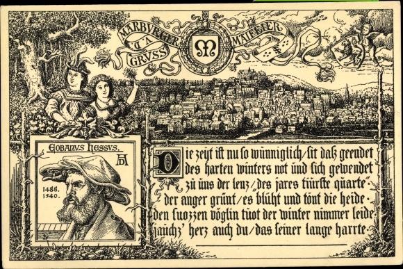 Künstler Ak Marburg an der Lahn, Maifeier, Cobanus Hessus, historische Stadtansicht 0