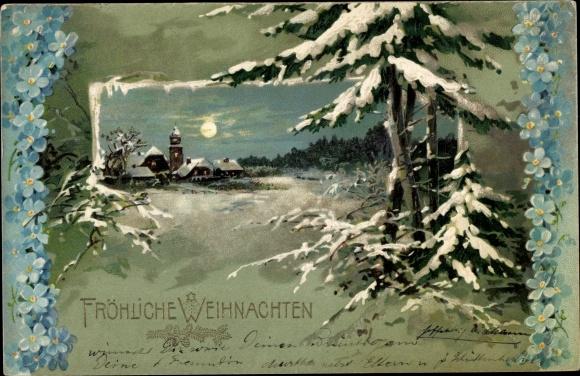 Präge Ak Frohe Weihnachten, Tannenbäume, Winterlandschaft, Vergissmeinnicht 0