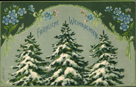 Präge Ak Frohe Weihnachten, Tannenbäume, Vergissmeinnicht