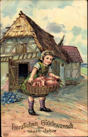 Präge Ak Glückwunsch Neujahr, Mädchen, Schweine in einem Korb, Ferkel 0