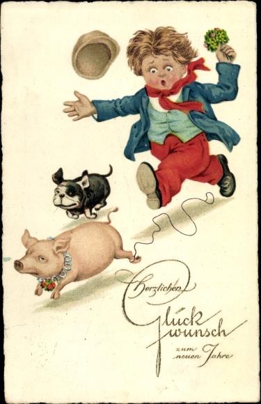 Ak Glückwunsch Neujahr, Schwein, Junge, Hund 0