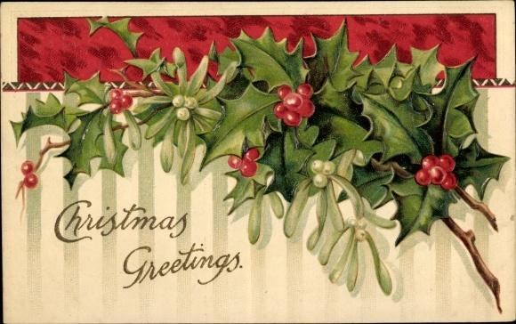 Präge Ak Frohe Weihnachten, Christmas Greetings, Stechpalmen, Mistelzweig 0