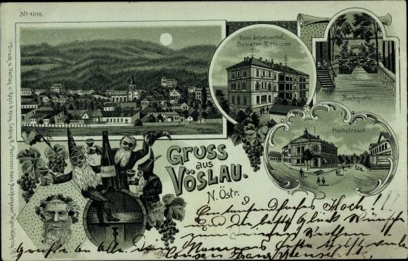 Mondschein Litho Bad Vöslau Niederösterreich, Hotel Schweizerhof, Bacchus, Badequelle, Hochstraße 0