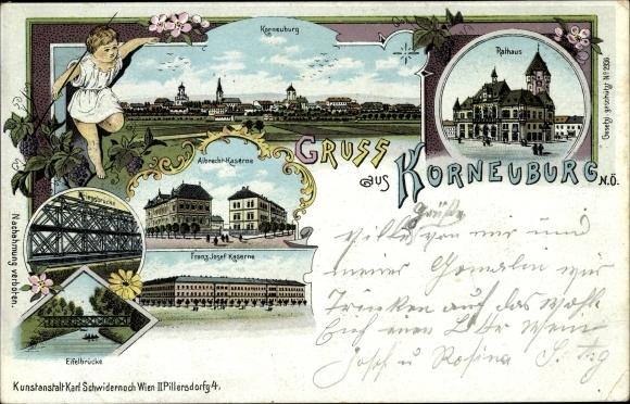 Litho Korneuburg in Niederösterreich, Rathaus, Albrecht Kaserne, Franz Josef Kaserne, Eifelbrücke 0