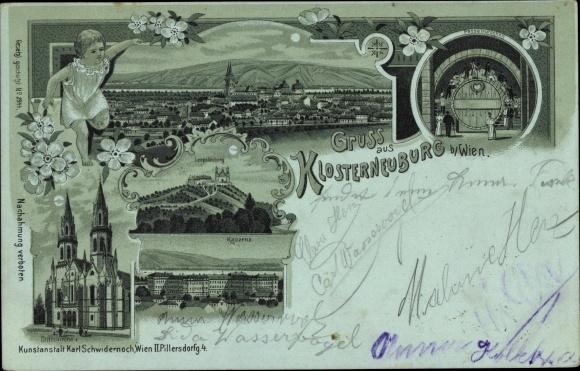 Mondschein Litho Klosterneuburg in Niederösterreich, Kaserne, Leopoldsberg, Stiftskirche, Panorama 0