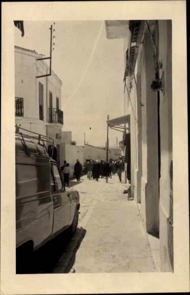 Foto Ak Aïd el-Kebir Marokko, Straßenpartie, Transporter