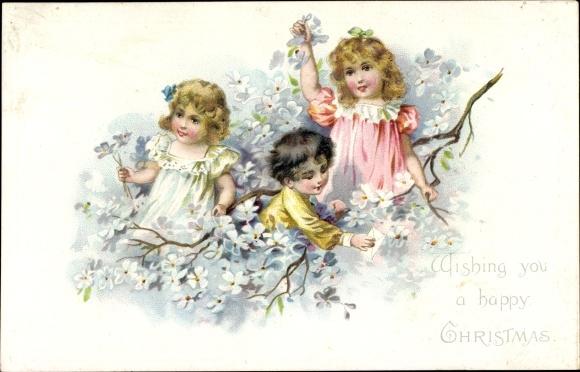 Präge Litho Frohe Weihnachten, Blütenzweig, Kinder 0