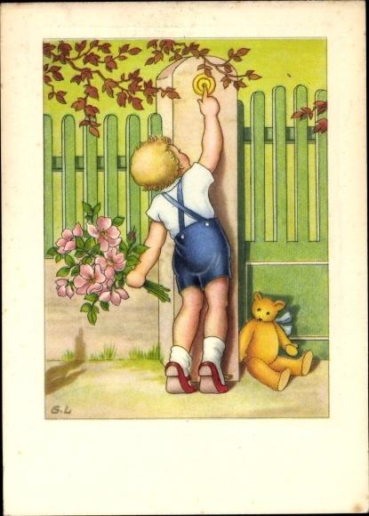 Ak Junge m. Blumenstrauß, Klingel, Teddybär 0