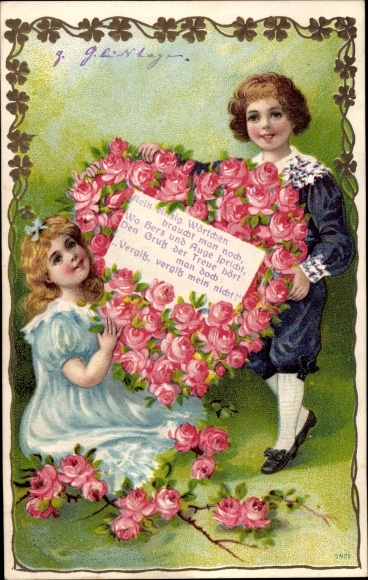 Präge Passepartout Ak Junge, Mädchen, Herz aus Rosen, Gedicht 0