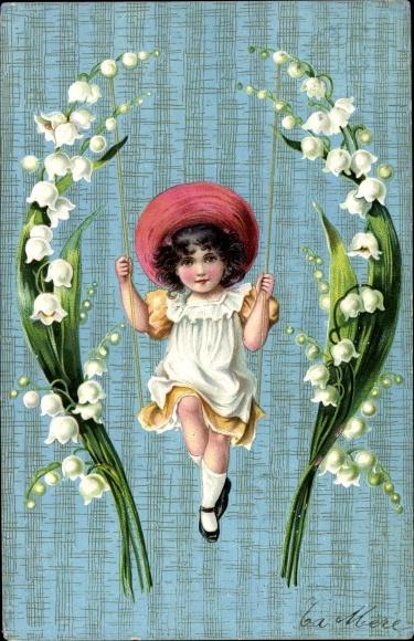 Präge Ak Mädchen, Schaukel, Glockenblumen 0