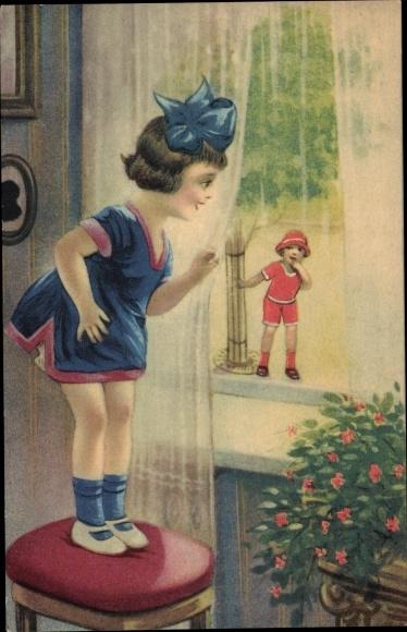 Ak Mädchen am Fenster, Junge auf Straße, Blumen, Kitsch 0