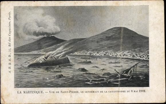 Künstler Ak Saint Pierre Martinique, Le Lendemain de la Catastrophe du Mai 1902 0