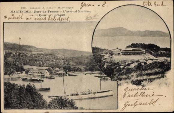 Ak Fort de France Martinique, L'Arsenal Maritime et le Quartier Gerbault