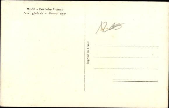 Ak Milon Fort de France Martinique, Vue générale 1