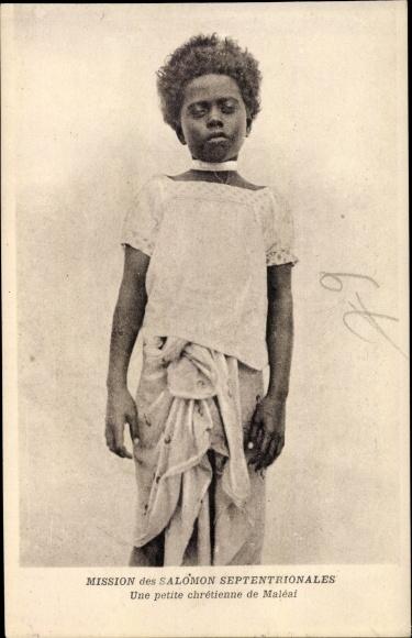 Ak Salomon Inseln, Mission des Salomon Septentrionales, petite chrétienne de Maléai, Portrait