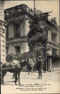 Ak Thessaloniki Griechenland, Rue Franque, Banque Ottomane, Incendie en 1917