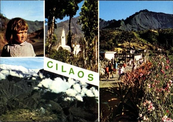 Ak Cilaos Île de la Réunion, rue, enfants, église, paysage montagneux