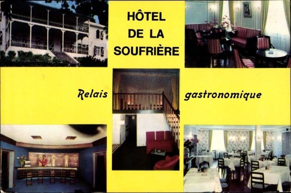 Ak Saint Claude Guadeloupe, Hôtel de la Soufrière, vues extérieure et intérieure, escalier 0