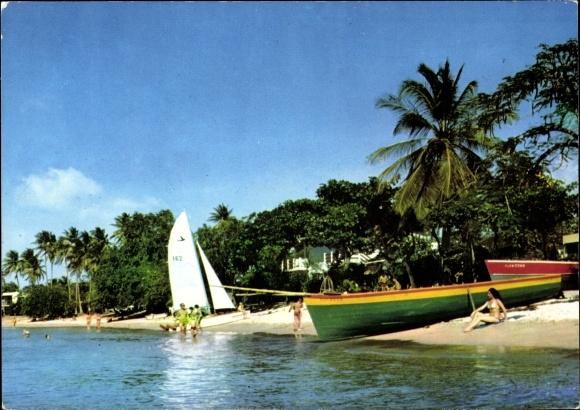 Ak Anse Mitan Martinique, Plage, baigneurs, voilier, palmiers, barques 0