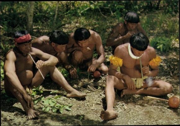 Ak Guyane Francaise Französisch Guayana, Indiens de l'Amazone et de Guyane, sarbacanes