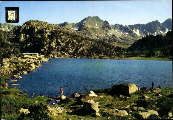Ak Andorra, Llac dels Pessons i Pic Montmalús, vue panoramique, blason 0