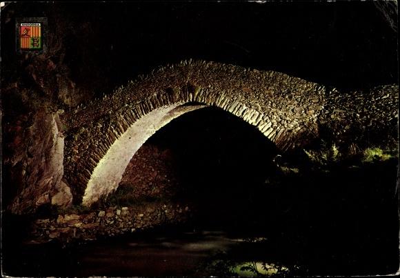 Ak St. Antoine Andorra, Vue nocturne, pont, blason