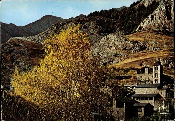 Ak Andorra, Village typique, vue partielle, paysage montagneux, arbre 0