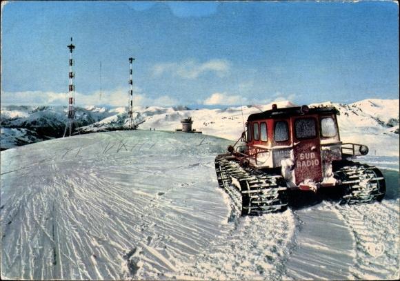 Ak Andorra, Sommet du Col d'Envalira, antennes, émmetteur de Sud radio, paysage montagneux, neige