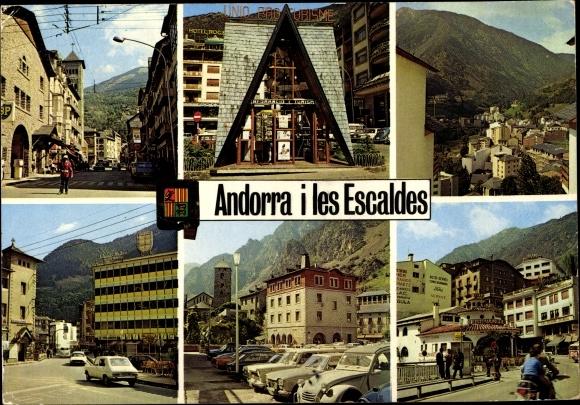Ak Andorra la Vella Andorra, Escaldes-Engordany Andorra, rues, agent de la circulation