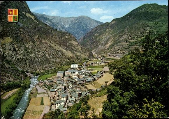 Ak Sant Julià de Lòria Andorra, vue générale d'en haut, rivière, paysage montagneux, blason