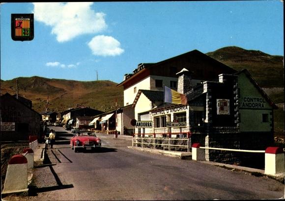 Ak Pas de la Casa Andorra, Entrée a Andorra dès France, frontière, blason, voiture