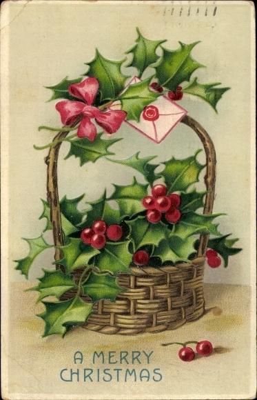 Präge Ak Frohe Weihnachten, Stachelpalme, Korb, Umschlag 0