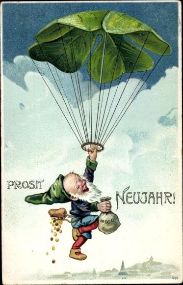 Ak Glückwunsch Neujahr, Kleeblatt, Zwerg, Goldmünzen, Fallschirm 0