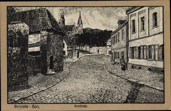 Künstler Ak Gernrode Quedlinburg im Harz, Gerostraße, Kopfsteinpflaster, Stiftskirche, Häuser 0