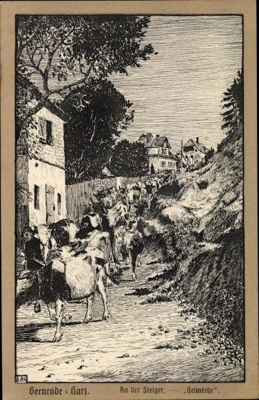 Künstler Ak Gernrode Quedlinburg im Harz, an der Steiger, Kuhherde bei der Heimkehr
