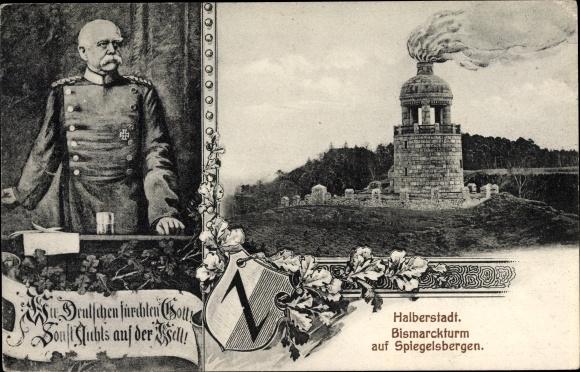 Ak Halberstadt in Sachsen Anhalt, Bismarckturm auf Spiegelsbergen, Totalansicht, Gemälde Bismarcks 0