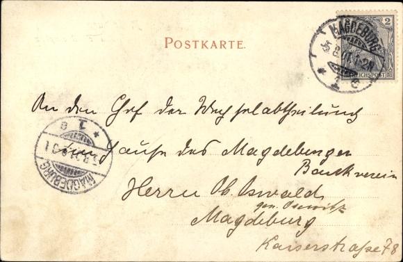 Ak Magdeburg an der Elbe, Kaiser Wilhelm Platz, Vogelschau, Reiterstandbild, Passanten, Häuser 1